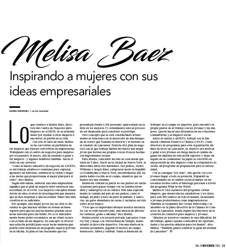 Melisa Baez, Director of Women's Business Center in Lancaster, PA, featured in La Voz