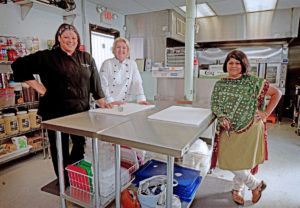 From left, Christina Maldonado-Coffey, N. Dianne Gadbois and Srirupa Dasgupta have a new catering kitchen on West James Street that will support their new partnership: Upohar -- Global Flavors Catering.